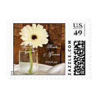 Mason Jar and White Daisy Barn Wedding Postage Stamp
