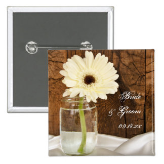 Mason Jar and White Daisy Country Barn Wedding Button