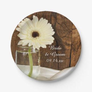 Mason Jar and White Daisy Country Barn Wedding Paper Plate