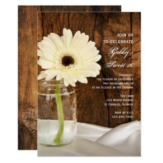 Mason Jar and White Daisy Sweet 16 Party Invite