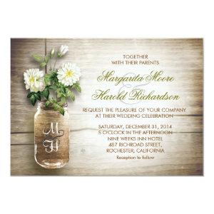 Mason jar and white flowers wedding invitations