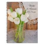Mason Jar and White Tulips Country Barn Wedding Spiral Notebook