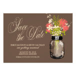 Mason Jar and Wildflowers Save the Date Custom Invitations