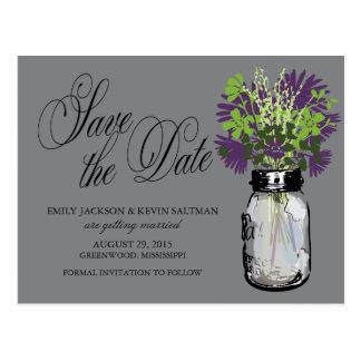 Mason Jar and Wildflowers Save the Date Postcard