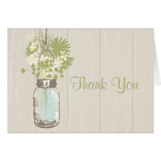 Mason Jar and Wildflowers Thank You Card