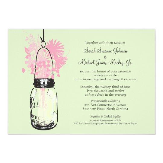Mason Jar and Wildflowers Wedding Card