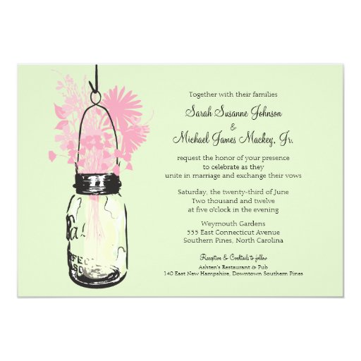 Mason Jar and Wildflowers Wedding 5x7 Paper Invitation Card