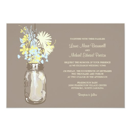 "Mason Jar and Wildflowers Wedding Invitations 5"" X 7"" Invitation Card"