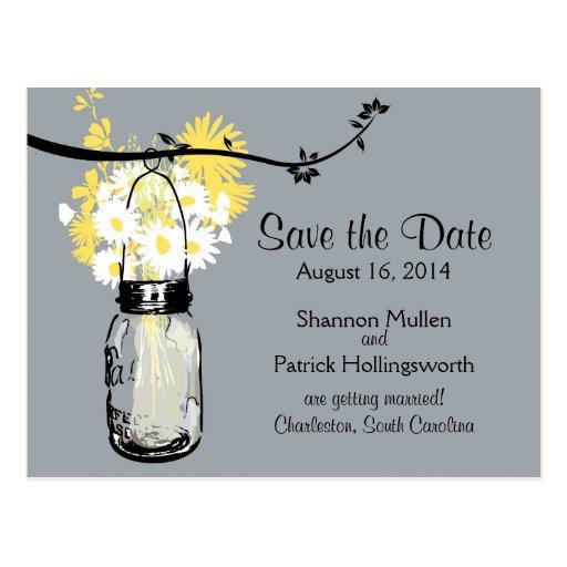 Mason Jar and Wildflowers Wedding Invitations Postcard