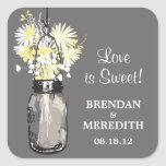 Mason Jar and Wildflowers Wedding Sticker