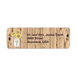 Mason Jar and Wood Mailing Label Return Address Label