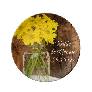 Mason Jar and Yellow Daisies Barn Wedding Keepsake Porcelain Plate