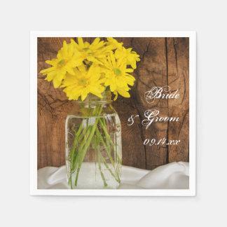 Mason Jar and Yellow Daisies Country Barn Wedding Napkin