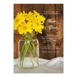 Mason Jar and Yellow Daisies Country Wedding Custom Announcement