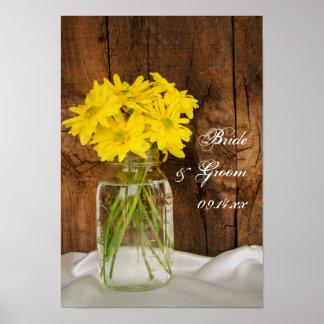 Mason Jar and Yellow Daisies Wedding Poster
