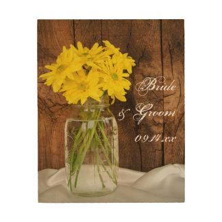 Mason Jar and Yellow Daisies Wedding Wood Canvas