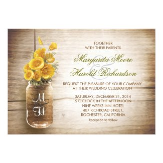 Mason jar and yellow flowers wedding invitations