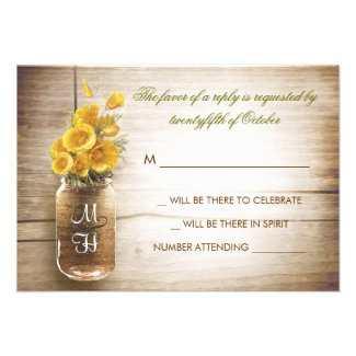 Mason jar and yellow flowers wedding RSVP card