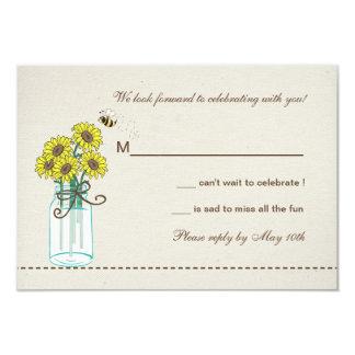 "Mason Jar Arrangement Response Card 3.5"" X 5"" Invitation Card"