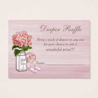 Mason Jar, Baby Girl, Pink Hydrangea Diaper Raffle Business Card