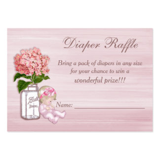 Mason Jar, Baby Girl, Pink Hydrangea Diaper Raffle Large Business Cards (Pack Of 100)
