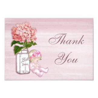 Mason Jar, Baby Girl, Pink Hydrangea Thank You Card