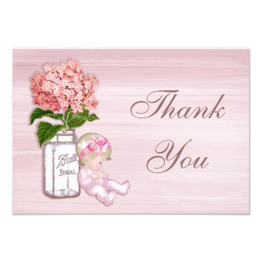 Mason Jar, Baby Girl, Pink Hydrangea Thank You Invites