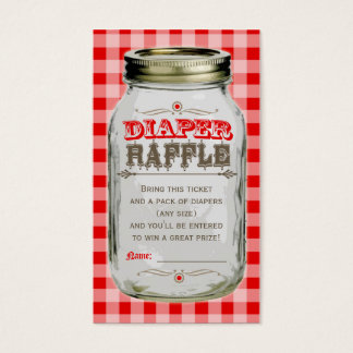 Mason Jar Baby Red Gingham Diaper Raffle Ticket