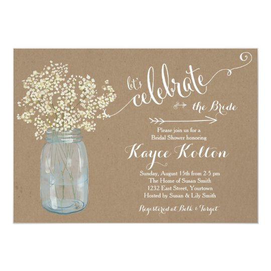 Mason Jar Baby S Breath Bridal Shower Invitation
