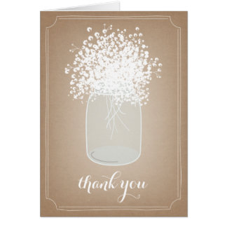 Mason Jar Baby's Breath Cardstock Inspired Thank Card