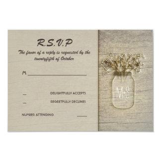 Mason Jar Baby's Breath Rustic Barn RSVP Cards