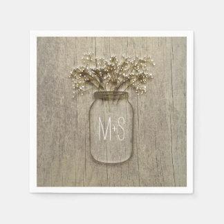 Mason Jar Baby's Breath Rustic Wedding Paper Napkin