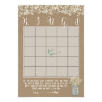Mason Jar Baby's Breath Shower Bingo Cards