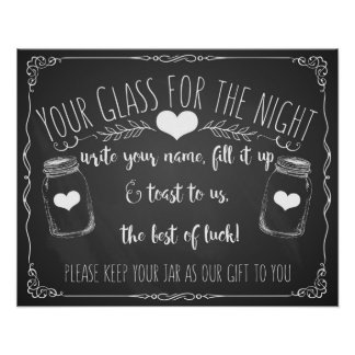 Mason jar bar sign wedding chalkboard poster