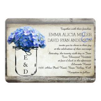 Mason Jar Barn Wood Blue Hydrangeas Wedding Invite Invitations