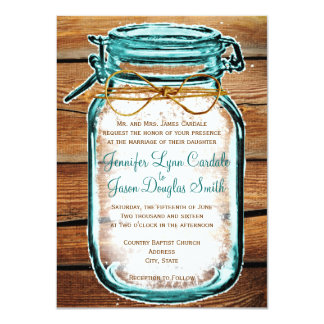 Mason Jar Barn Wood Rustic Wedding Invitations