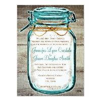 Mason Jar Barn Wood Rustic Wedding Invitations