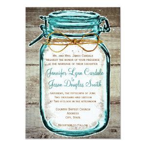 Mason Jar Barn Wood Rustic Wedding Invitations Custom Announcements