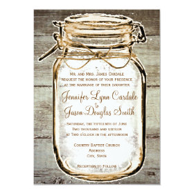 Mason Jar Barn Wood Rustic Wedding Invitations 4.5