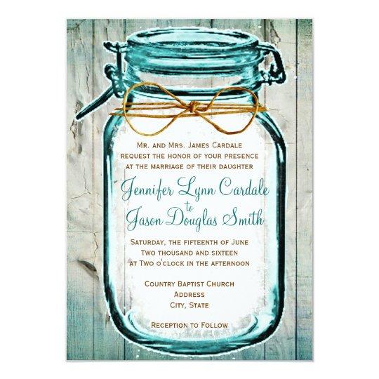 Wedding Invitations Mason Jar: Mason Jar Barn Wood Rustic Wedding Invitations