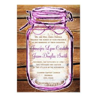Mason Jar Barn Wood Rustic Wedding Invitations Invite