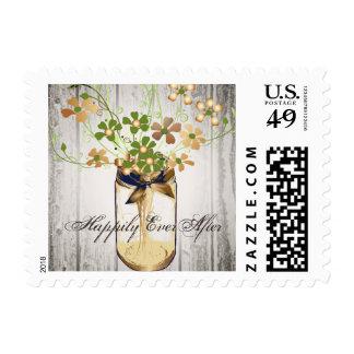 Mason Jar Barn Wood Wedding Stamp