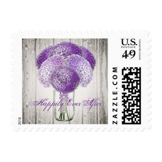 Mason Jar Barn Wood Wedding Postage Stamp