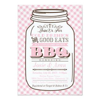 Mason Jar BBQ Invitation, Couples Baby Shower Girl Card