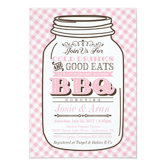 mason jar bbq invitation couples baby shower girl card
