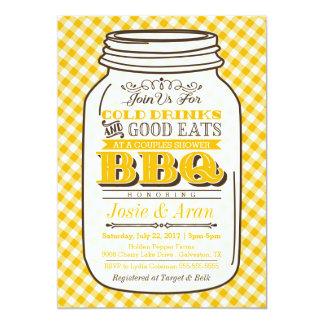 Mason Jar BBQ Invitation, Couples Shower, Yellow Card