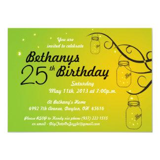 Mason Jar Birthday Invitation in Greens and Orange