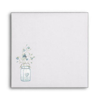 Mason Jar & Blue Bells Wedding Invitation Envelope