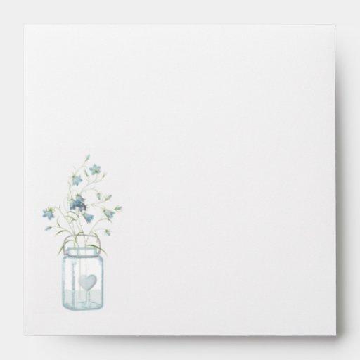 Mason Jar & Blue Bells Wedding Invitation Envelope