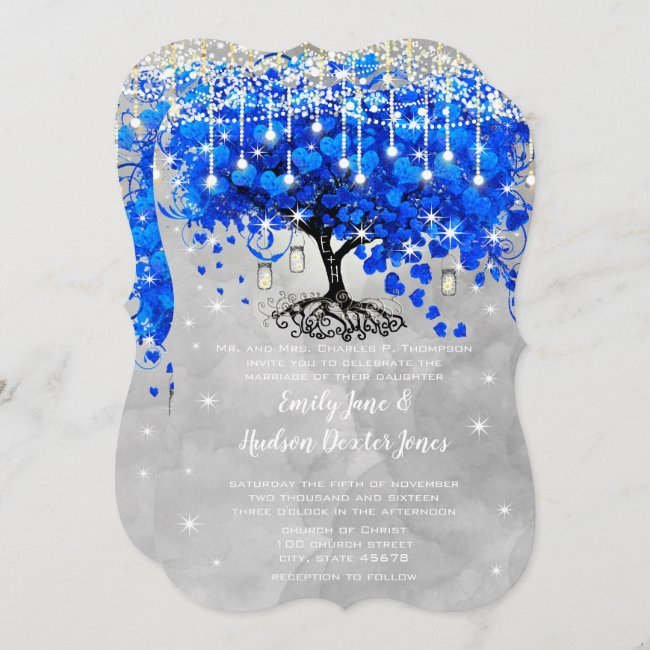 Mason Jar Blue Heart Leaf Tree Gray Watercolor Invitation